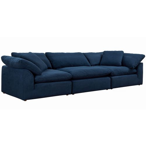 Cloud Puff 3-piece slipcovered modular sectional sofa in Navy SU-1458-49-2C-1A