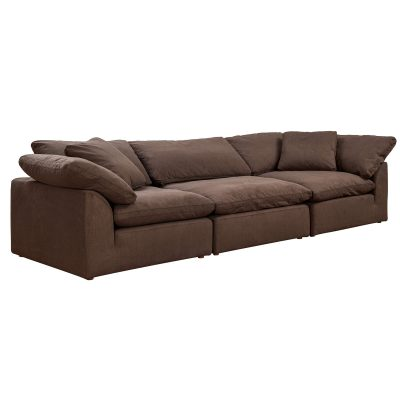 Cloud Puff 3-piece slipcovered modular sectional sofa in brown SU-1458-88-2C-1A