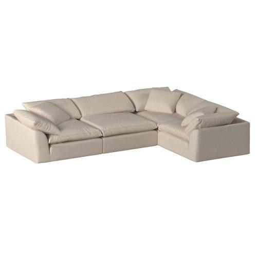 Cloud Puff 4-piece slipcovered modular L-shaped sectional sofa SU-1458-84-3C-1A