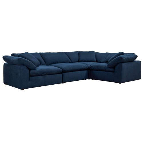 Cloud Puff 4-piece slipcovered modular L-shaped sectional sofa in Navy SU-1458-49-3C-1A