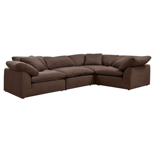 Cloud Puff 4-piece slipcovered modular L-shaped sectional sofa in brown SU-1458-88-3C-1A