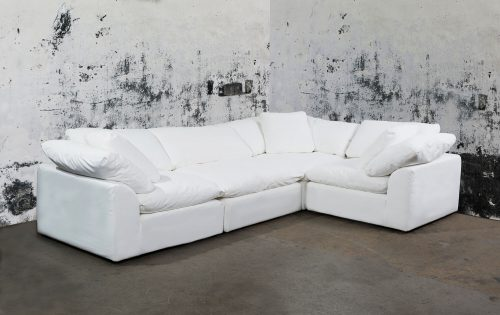 Cloud Puff 4-piece slipcovered modular L-shaped sectional sofa room setting SU-1458-81-3C-1A