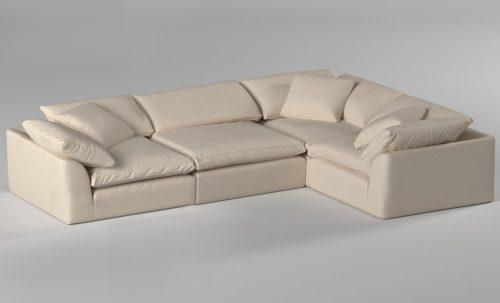 Cloud Puff 4-piece slipcovered modular L-shaped sectional sofa room setting SU-1458-84-3C-1A