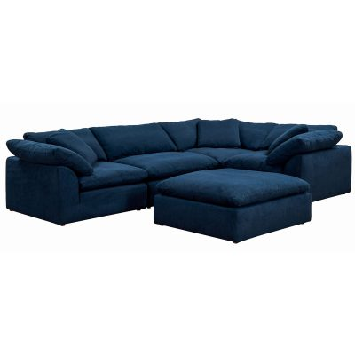 Cloud Puff 5-piece slipcovered modular L-shaped sectional sofa with ottoman in Navy SU-1458-49-3C-1A-1O