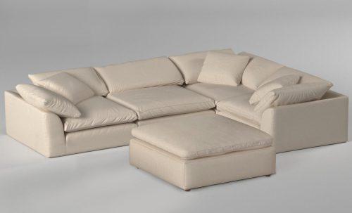 Cloud Puff 5-piece slipcovered modular L-shaped sectional sofa with ottoman room setting SU-1458-84-3C-1A-1O