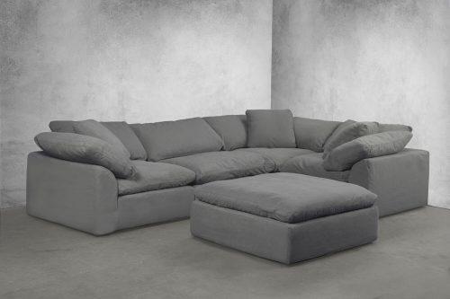 Cloud Puff 5-piece slipcovered modular sectional sofa room setting SU-1458-94-3C-1A-1O