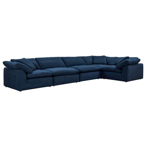 Cloud Puff 5-piece slipcovered sectional sofa in Navy SU-1458-49-3C-2A