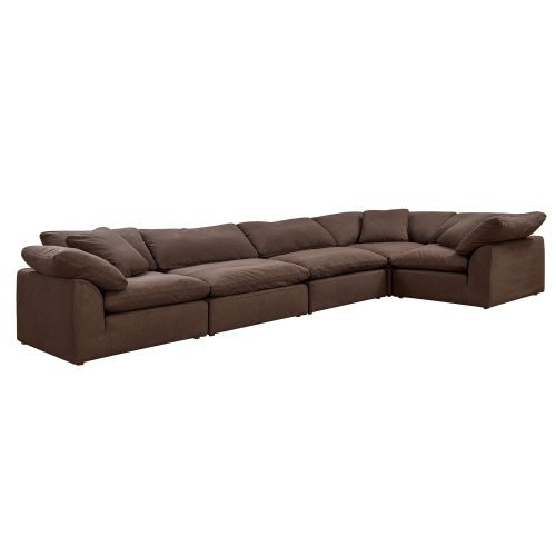 Cloud Puff 5-piece slipcovered sectional sofa in brown SU-1458-88-3C-2A