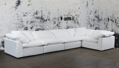 Cloud Puff 5-piece slipcovered sectional sofa room setting SU-1458-81-3C-2A