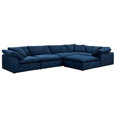 Cloud Puff 6-piece slipcovered sectional sofa with ottoman Navy SU-1458-49-3C-2A-1O