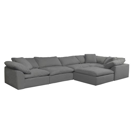 Cloud Puff 6-piece slipcovered sectional sofa with ottoman SU-1458-94-3C-2A-1O