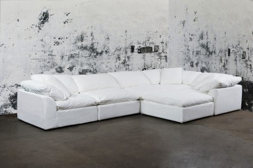 Cloud Puff 6-piece slipcovered sectional sofa with ottoman room setting SU-1458-81-3C-2A-1O
