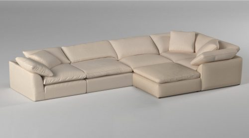 Cloud Puff 6-piece slipcovered sectional sofa with ottoman room setting SU-1458-84-3C-2A-1O