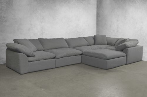 Cloud Puff 6-piece slipcovered sectional sofa with ottoman room setting SU-1458-94-3C-2A-1O