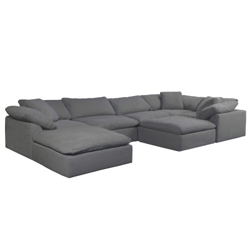 Cloud Puff 7-piece slipcovered sectional sofa with ottomans SU-1458-94-3C-2A-2O