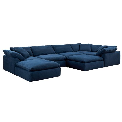 Cloud Puff 7-piece slipcovered sectional sofa with ottomans in Navy SU-1458-49-3C-2A-2O