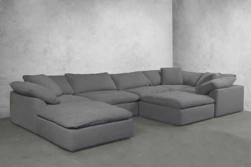 Cloud Puff 7-piece slipcovered sectional sofa with ottomans room setting SU-1458-94-3C-2A-2O