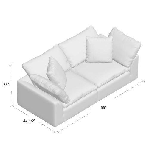 Cloud Puff Collection - 2-piece loveseat dimensions