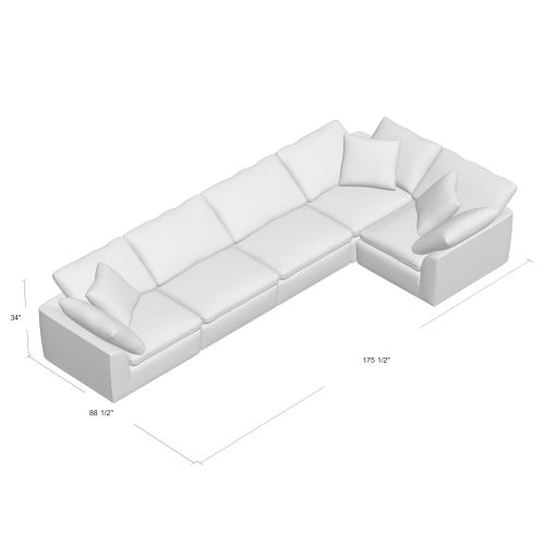 Cloud Puff Collection - 5-piece L-shaped modular sofa dimensions