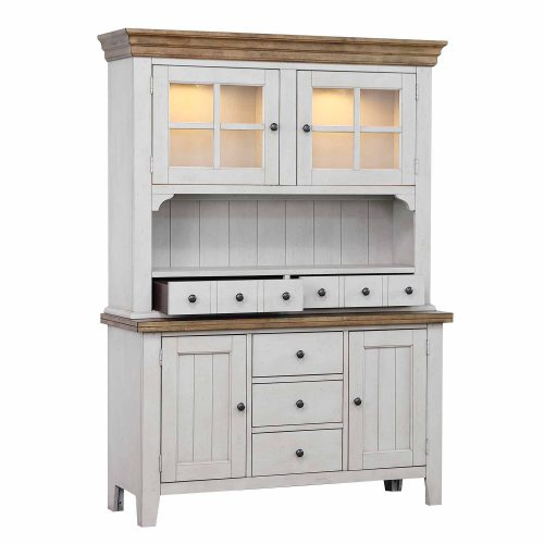 Country Gove Collection - Buffet - Hutch in distressed gray and brown - three-quarter view DLU-CG-BH-GO