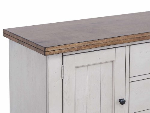 Country Gove Collection - Buffet in distressed gray and brown - detail of top and doors DLU-CG-BUF-GO