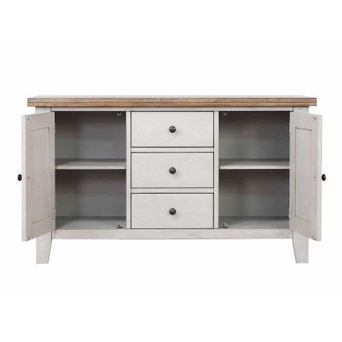 Country Gove Collection - Buffet in distressed gray and brown - front view with doors open DLU-CG-BUF-GO
