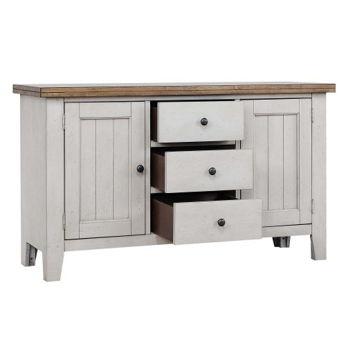 Country Gove Collection - Buffet in distressed gray and brown - three-quarter view with drawers open DLU-CG-BUF-GO