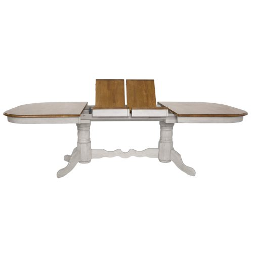 Country Grove Collection - Double Pedestal Extendable Dining Table showing butterfly leafs DLU-CG4296-GO