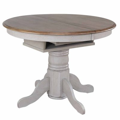 Country Grove Collection - Round Pedestal table in distressed gray with Oak top - three-quarter view without leaf DLU-CG4260-GO