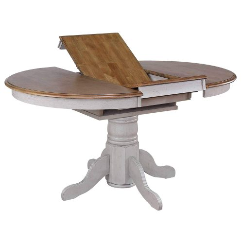 Country Grove Collection - Round Pedestal table in distressed gray with Oak top - view of butterfly leaf DLU-CG4260-GO