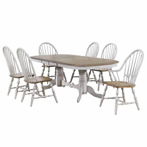 Country Grove Collection - double pedestal dining table with four Windsor side chairs and two Windsor armchairs DLU-CG4296-30AGO7