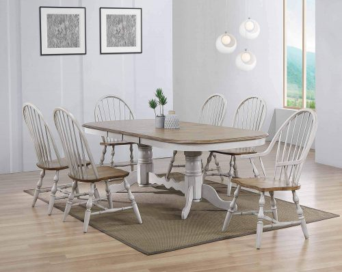 Country Grove Collection - double pedestal dining table with four Windsor side chairs and two Windsor armchairs - dining room setting DLU-CG4296-30AGO7