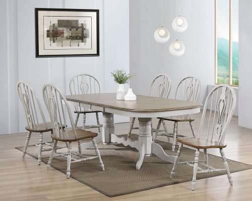 Country Grove Collection - seven-piece dining set with double pedestal table and six chairs in dining room DLU-CG4296-124SGO7