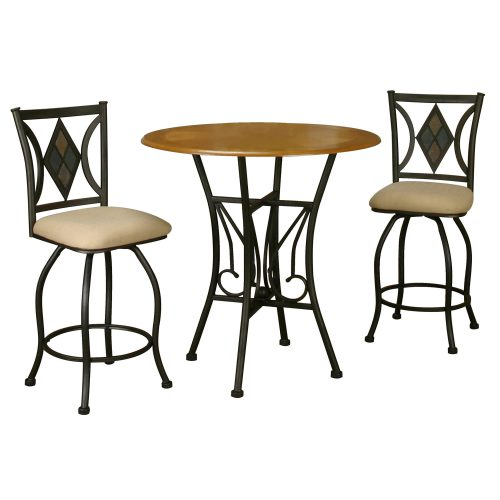 Dart Pub Table with espresso frame and light-oak top and matching counter height swivel stools CR-Y2091-3PC