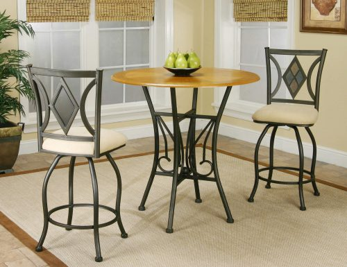 Dart Pub Table with espresso frame and light-oak top and matching counter height swivel stools in dining room CR-Y2091-3PC