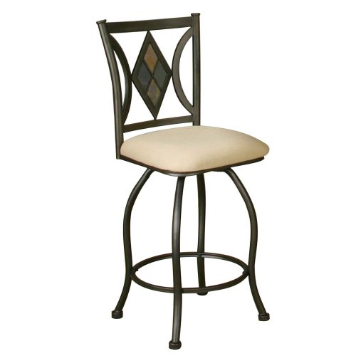 Dart counter height cafe swivel stool with espresso frame and upholstered seat - left CR-Y2091-24-2