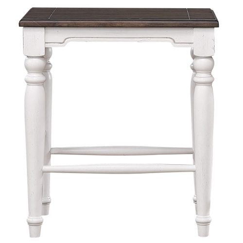 French Chic - backless stool - front view - DLU-FC1016-24W-RTA