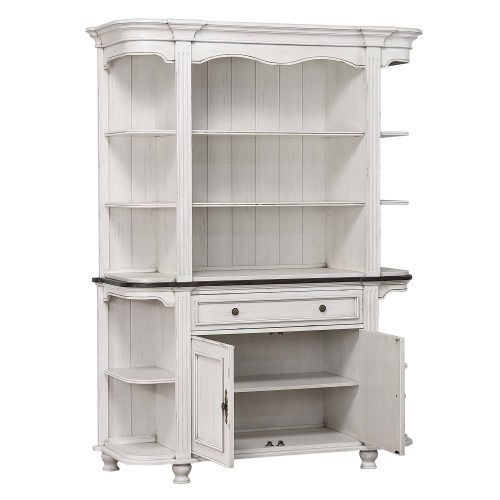 French Chic - buffet and hutch - three-quarter view with doors open - DLU-FC-BH