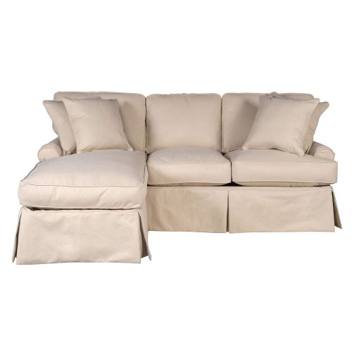 Hoizon Slipcovered Collection - Sleeper sofa with chaise on left - front view SU-117678-391084