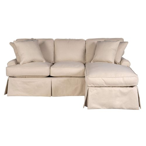 Horizon Slipcovered Collection - Sleeper sofa with chaise on right - front view SU-117678-391084