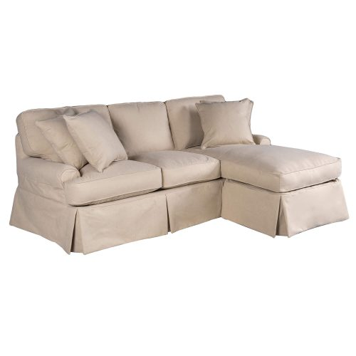 Hoizon Slipcovered Collection - Sleeper sofa with chaise - three-quarter view SU-117678-391084
