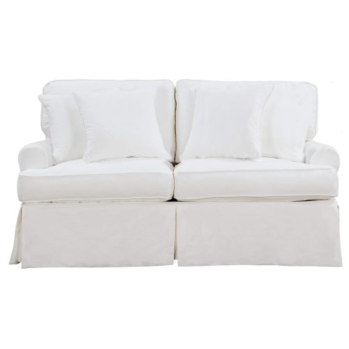 Horizon Slipcovered Collection - Padded Loveseat - front view with pillows SU-117610-423080