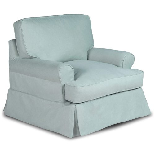 Horizon Slipcovered Collection - Padded T-Cushion chair - three-quarter view SU-117620-391043