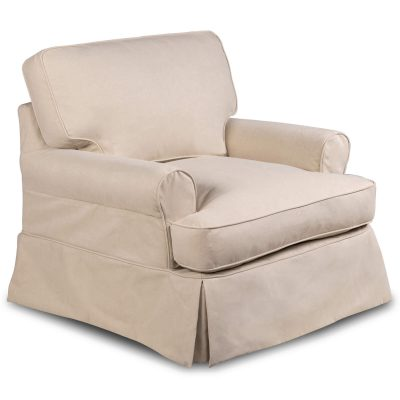 Horizon Slipcovered Collection - Padded T-Cushion chair - three-quarter view SU-117620-391084