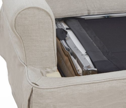 Horizon Slipcovered Collection - Sleeper Sofa with chaise - detail of sleeper folded SU-117678-220591