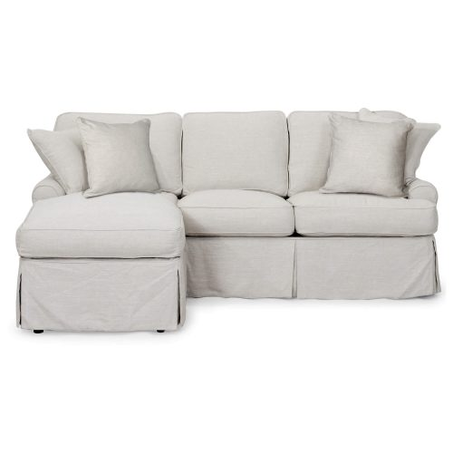 Horizon Slipcovered Collection - Sleeper Sofa with chaise on left - front view SU-117678-220591