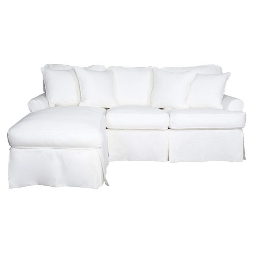 Horizon Slipcovered Collection - Sleeper Sofa with chaise on left - front view SU-117678-391081