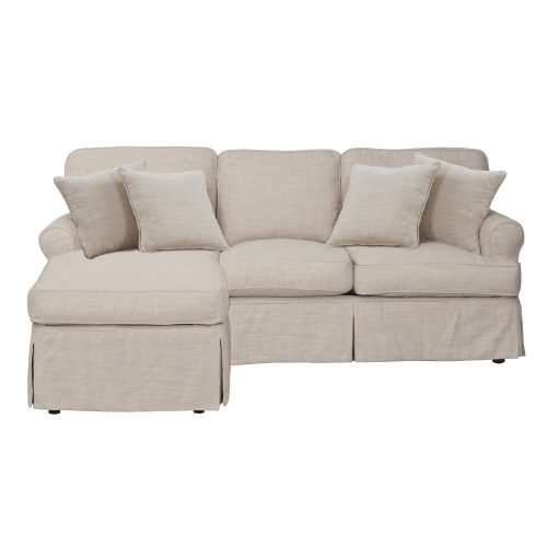 Horizon Slipcovered Collection - Sleeper Sofa with chaise on left - front view SU-117678-466082