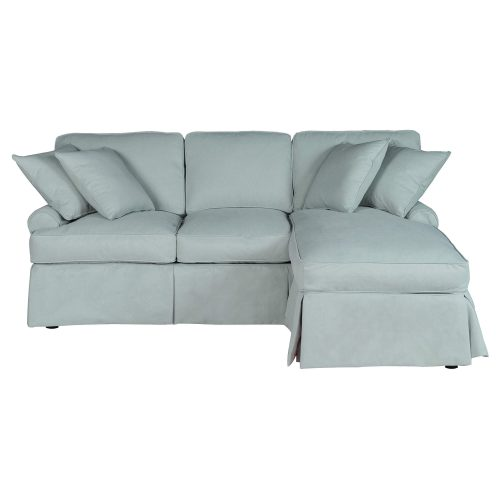 Horizon Slipcovered Collection - Sleeper Sofa with chaise on right - front view SU-117678-391043