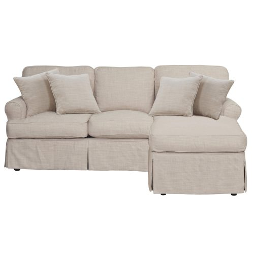 Horizon Slipcovered Collection - Sleeper Sofa with chaise on right - front view SU-117678-466082